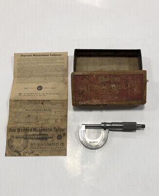 Vintage L.s. Starrett 230 1 Micrometer Caliper Original Box And Paper