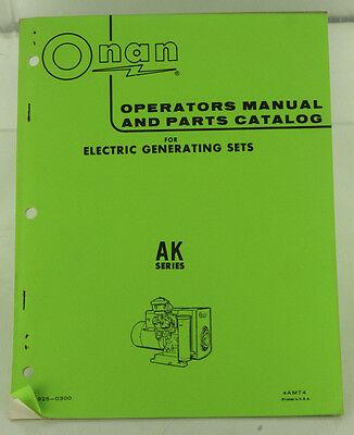 Vintage Onan Ak Series Generator Genset Operators Manual Parts Catalog