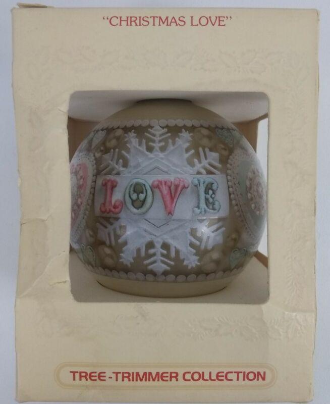 Vintage 1980 Hallmark Ornament Christmas Love - Glass Ball Keepsake Tree Trimmer