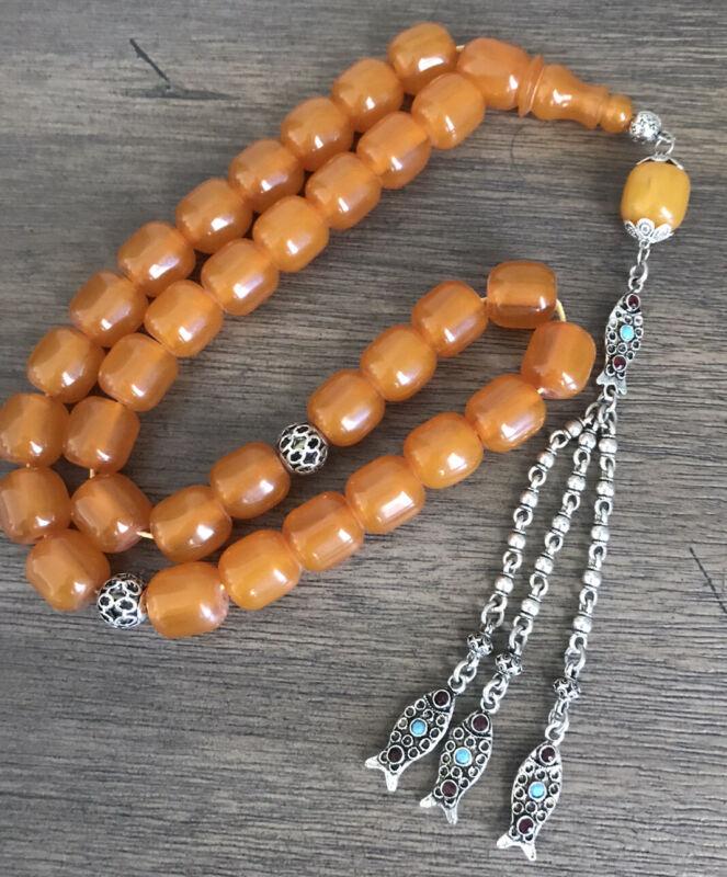 New Collectible Turkish Fatoran Amber Rosary 33 Beads سبحة مسبحة فاتوران
