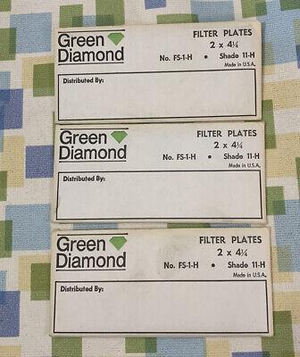 Lot Of 3 Green Diamond Fs-1-h 2 X 414 Shade 11-h Welding Lenses Lens New