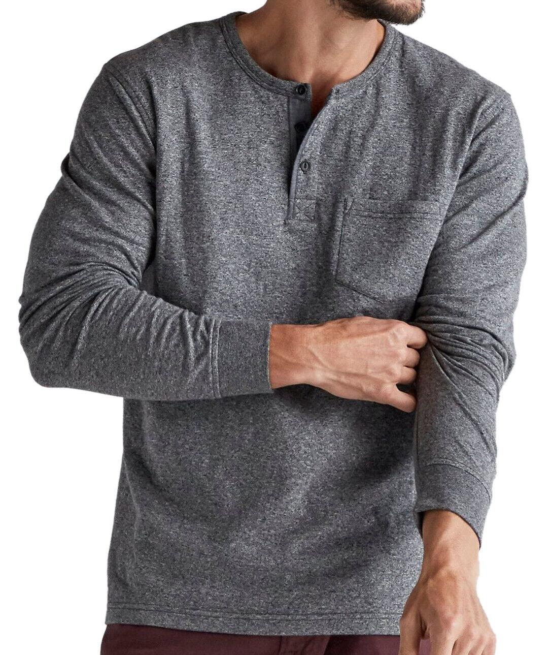 001 Black Lucky Brand Men/'s 7MDK020 Jaspe Henley Shirt 3881-8 Medium