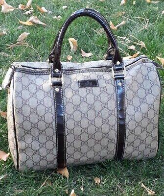 Vintage Gucci Boston Bag GG Logo Joy Canvas Brown Handbag
