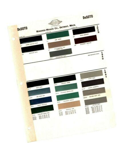 1939 & 1941 DeSOTO Color Chip Paint Sample Brochure / Chart: De Soto