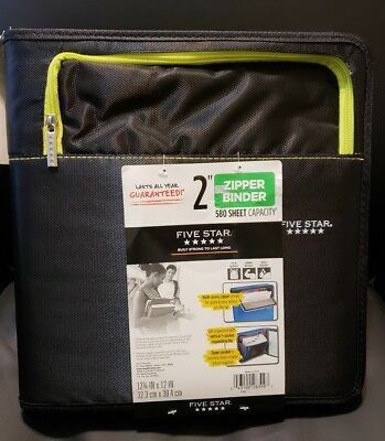New Mead Five Star 2 Zipper Binder Multi Pockets Organizer Black 580 Sheet Cap.