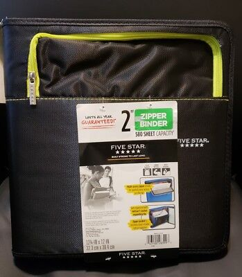 New Mead Five Star 2 Zipper Binder Multi Pockets Organizer Black 580 Sheet Cap.
