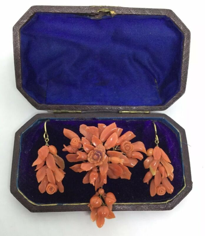 VICTORIAN  14K CARVED CORAL PIN & EARRINGS  LEAVES & FLOWERS (SC11)