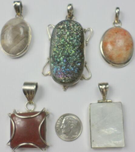 5 Vintage 925 Sterling Silver Titanium Druzy MOP Agate Jasper Pendants 65 Grams