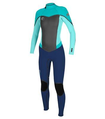 O Neill Women s Flair 3 2mm Back Zip Full Wetsuit Navy Sea Glass Aqua Size  8S aaee1f807