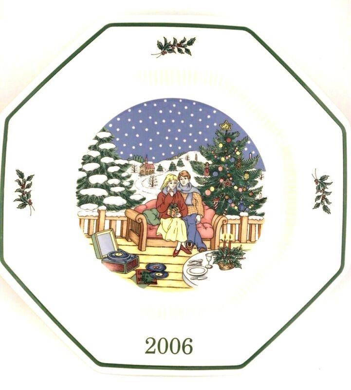NIKKO 2006 White Christmas Spirit Plate Octagon Collectibles 14th Edition