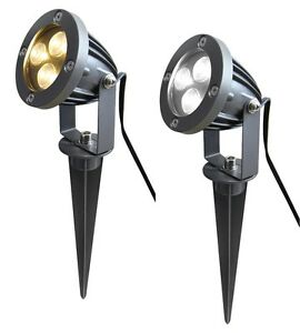 LED Garden Spike Light Kit 12v 3w LED Spike Easy Install Warm or Cool White