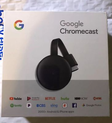 Brand New Sealed Google Chromecast (2018) (GA00439-US) Charcoal (3rd Generation)