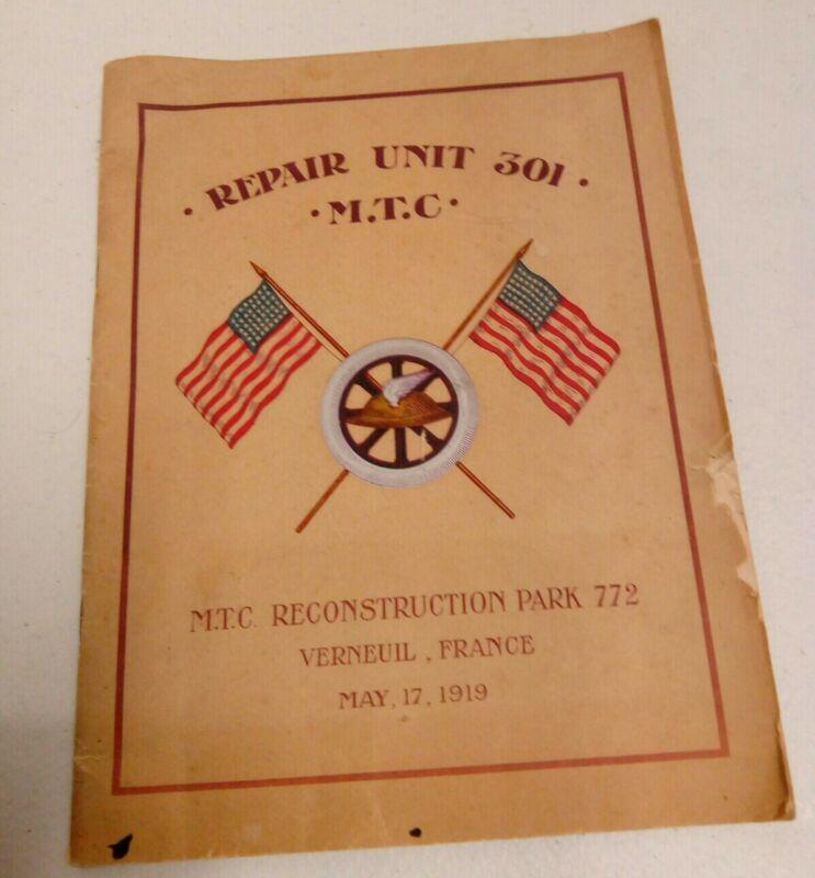 VINTAGE 1919 REPAIR UNIT 201 MTC RECONSTRUCTION PARK 772 VERNEUIL FRANCE PROGRAM
