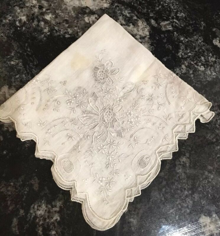 MADEIRA Pearl Grey/White Museum Quality Embroidery Wedding Handkerchief