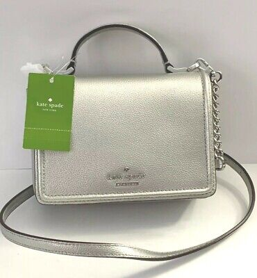 NWT KATE SPADE Maisie Patterson Drive Pebbled Leather Small Crossbody Bag Silver