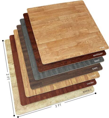 "12 Wood Grain Flooring Tiles - Interlocking Foam Floor Mat- 3/8"" Thick- 48 Sq Ft"
