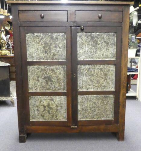 Antique Primitive Pie Safe:  6 Star Tin Panels, 2 Drawers, 3 Large Shelves. 1870