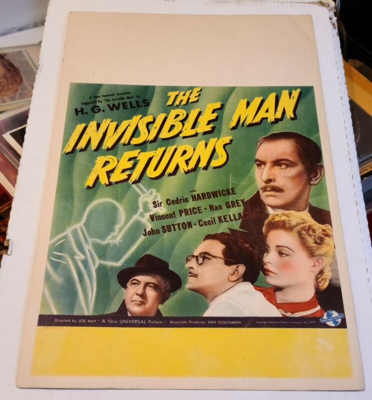 THE INVISIBLE MAN RETURNS WINDOW CARD VINCENT PRICE UNIVERSAL LAEMMLE H G WELLES