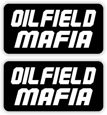 2 Oilfield Mafia Hard Hat Stickers Decals Funny Label Danger Driller Roughneck