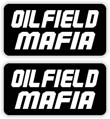 2 Oilfield Mafia Hard Hat Stickers Decals Funny Label Danger Driller Roughneck