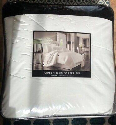 J. Queen New York 4 Piece Queen Comforter Set Astoria Damask White