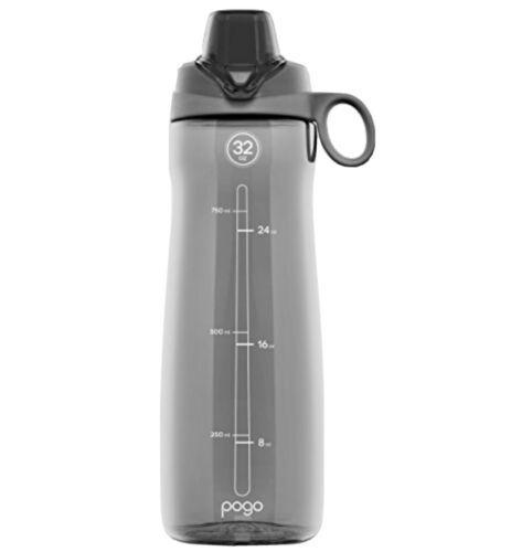 Pogo BPA-Free Plastic Water Bottle with Chug Lid, Grey, 32 o