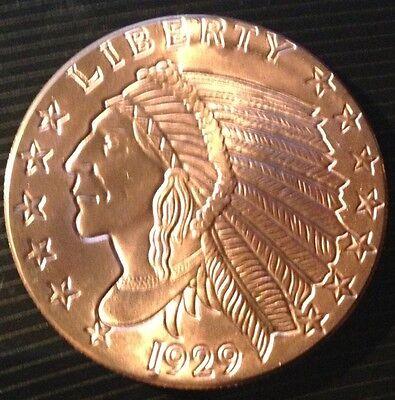 1 OZ COPPER ROUND 1929 INDIAN HEAD INCUSED $5 GOLD COIN DESIGN