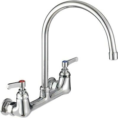 "Wall Mount Kitchen Faucet Commercial Sink Brass Constructed Chrome Finish 8"" New"