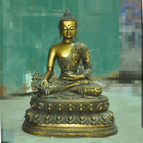 Tibetan Buddhism temple bronze Gilt Shakyamuni Sakyamuni Medicine Buddha statue