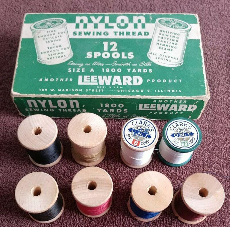 Mixed Lot of 8 Wooden Spools of Thread & Leeward Thread Box