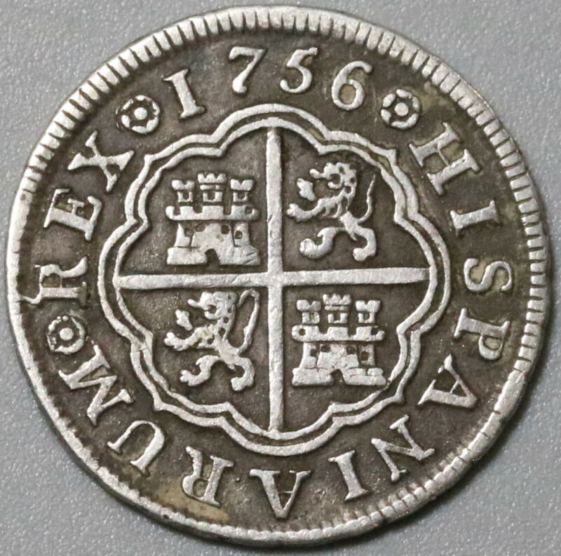 1756-M Spain 1 Real VF Ferdinand VI Madrid Mint Silver Coin (20061701R)