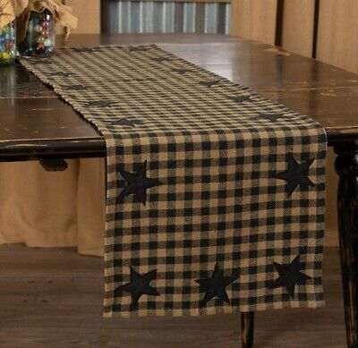 "BLACK STAR TABLE RUNNER 48"" Appliqued Primitive Country Farmhouse Rustic Cotton"