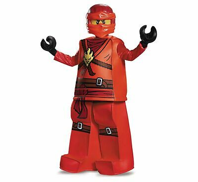 Kai Ninjago Halloween Costume (Lego Ninjago Kai Costume Child S M L Boys Kids Red Ninja Minifigure)