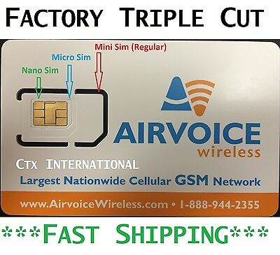 Airvoice Wireless  Nano  Sim Card New  Never Activated  At T No Contract
