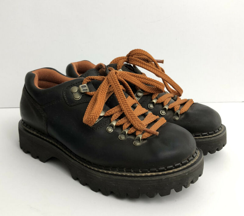 American Eagle AE Womens Chunky Shoes Orange Lace Up Brown Vintage 90s Grunge 8