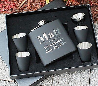 Personalized Black Matte Flask Set - Groomsman gift, Best man (Mens Flask)