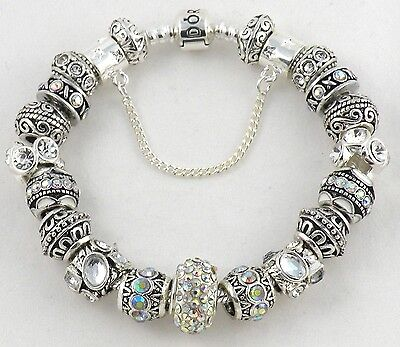 NEW Authentic PANDORA Barrel Bracelet with LOVELY European Charms & Murano Beads