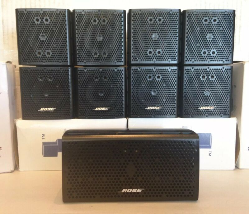 5 Bose Double Cube DoubleShot Speakers With Center Lifestyle Acoustimass Black.