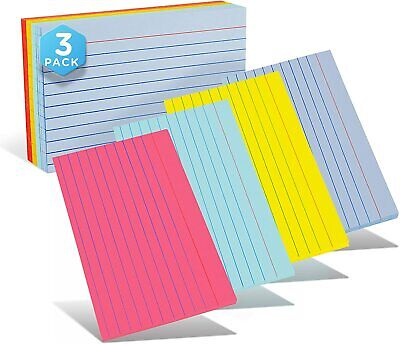 Emraw Ruled Lined Colored Index Note Cards Heavy Weight Durable 3 X 5 Inch Plain