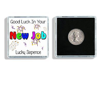 Good Luck In Your New Job Lucky Sixpence Keepsake In Display Case Ideal Gift