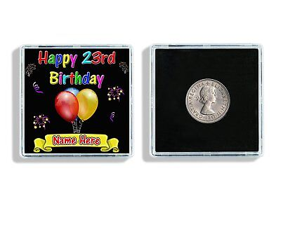 Personalised Name Happy 23rd Birthday Lucky Sixpence & Display Case Gift W116 ()