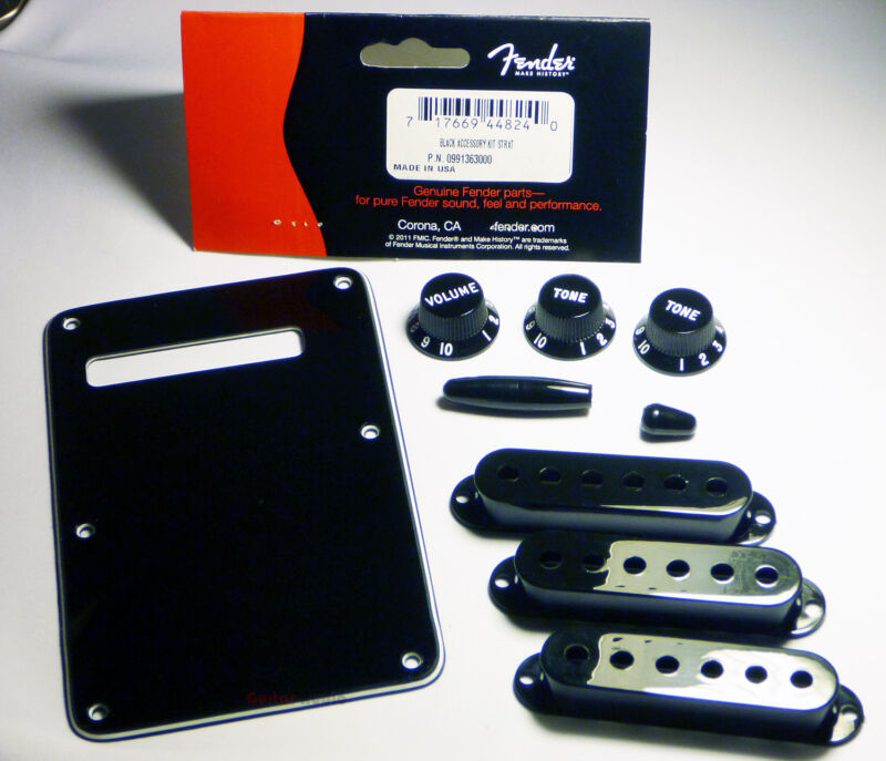 Genuine Fender Black Strat Stratocaster Accessory Kit - BackPlate, Knobs, Covers