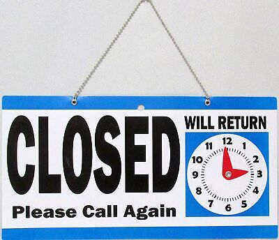 Open Closed Plastic Hanging Store Sign With Will Return Clock Chain Bluewhite