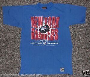 New York RANGERS / NHL - US Line - vintage blue T-Shirt. Size: 160/170 (S-M?) - <span itemprop=availableAtOrFrom>Poland, Polska</span> - New York RANGERS / NHL - US Line - vintage blue T-Shirt. Size: 160/170 (S-M?) - Poland, Polska
