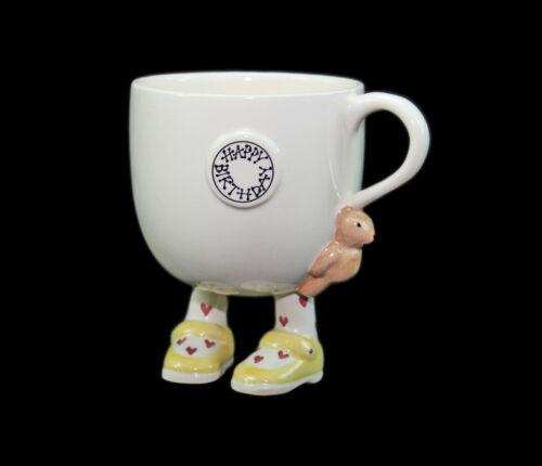 Vintage 1980 CARLTON WARE Pottery China Walking Feet HAPPY BIRTHDAY CUP, MUG