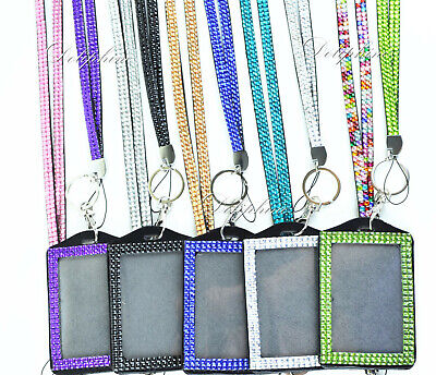 Bling Crystal Rhinestone Neck Lanyard with Vertical Photo ID badge holder  - Lanyard Holder