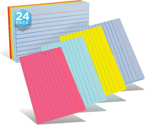 Emraw Ruled Lined Colored Index Note Cards Heavy Weight Durable 3 X 5 Inch