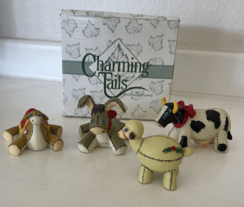 Fitz and Floyd Charming Tails Christmas Manger Animals 87/482 with Box