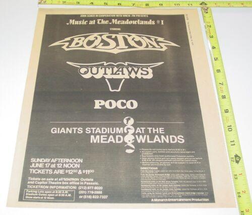 Boston Band Outlaws Concert AD Advert 1979 Tour Delp Scholz Giants Stadium NJ