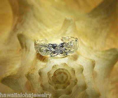 5.5mm Tapered STER Silver Hand Engraved Hawaiian Heritage Long Scrolls Toe Ring